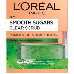 L'Oreal Paris Smooth Sugar Clear Kiwi Face And Lip Scrub 50ml