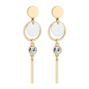 Gold and silver disc drop earrings