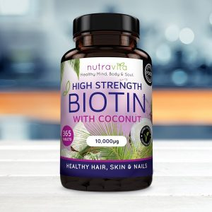 BIOTIN WITH COCONUT OIL, HIGH STRENGTH, 10,000UG, 365 TABLETS