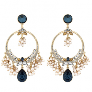 Blue crystal and pearl statement earings