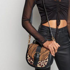 Animal Print Saddle Bag