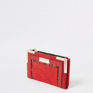 Red snake embossed fold out purse