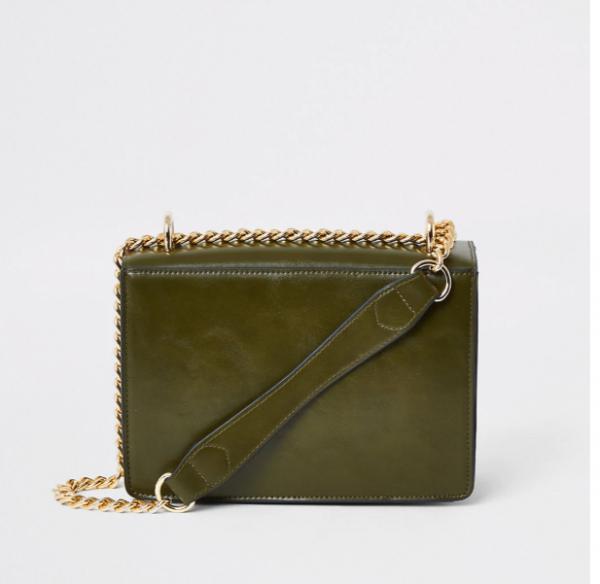 Khaki underarm satchel bag