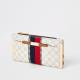 Beige monogram stripe fold out purse