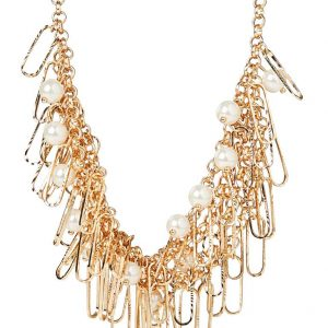 Pearl & Mesh Chain Collar Necklace