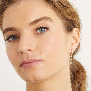 Gem Inlay Charm Huggie Earrings